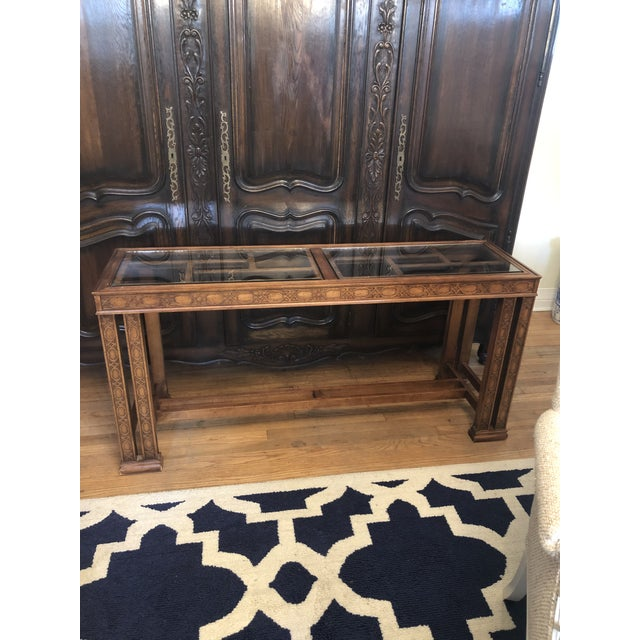 Glass Vintage Chinoiserie Henredon Console Table For Sale - Image 7 of 7