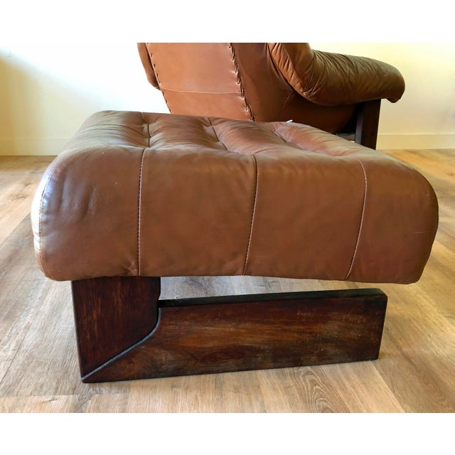 Vintage Percival Lafer Tufted Leather Lounge Chair & Ottoman With Rosewood Frame For Sale In Seattle - Image 6 of 13