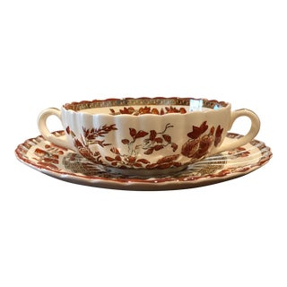 Spode Indian Tree Orange Rust, Scallop, Red Trim Flat Cream Soup & Saucer Set - Set of 2 For Sale