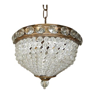 French Jewel Encrusted Petite Beaded Dome Flush Mount Chandelier For Sale