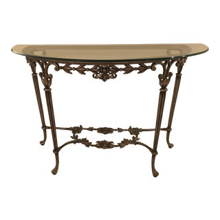 Iron & Glass Top Console Table