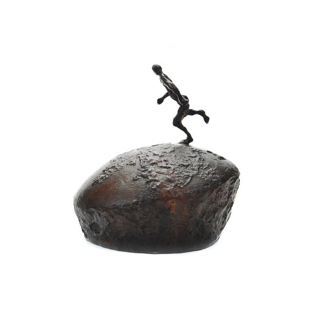 Athlete Running Across the World Bronze Sculpture For Sale In Los Angeles - Image 6 of 9