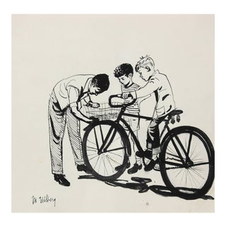 """Marjorie Ullberg Mid-Century """"Kids and Bicycle"""" Illustration in Black Ink, Circa 1950 For Sale"""