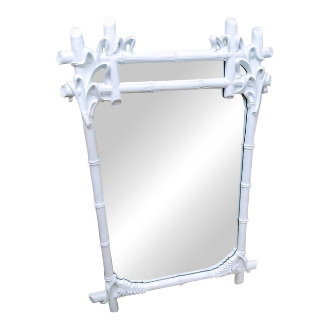 Vintage Gampel Stoll Faux Bois White Lacquered Wall Mirror For Sale