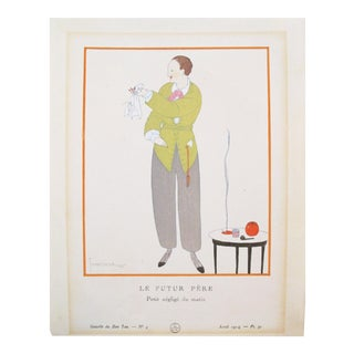 1914 French Art Deco Fashion Plate, Futur Pere For Sale