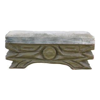 1940s Vintage Rustic Low Green Bench For Sale