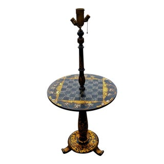 Antique ENGLISH Black Laquered PAPER MACHE Mother of Pearl LAMP TABLE Chess For Sale