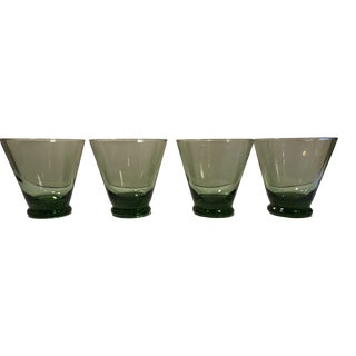 Vintage Emerald Green Drinking Glasses - Set of 4