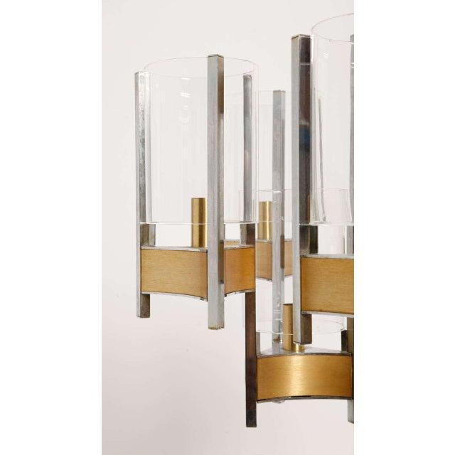 1960s Sciolari Brass Glass Sculptural Chandelier,1970s For Sale - Image 5 of 11