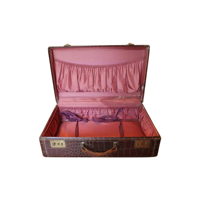 Brown Faux Crocodile Suitcase - Image 1 of 6