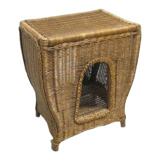 Mid-Century Modern Bamboo Wicker Side Table For Sale