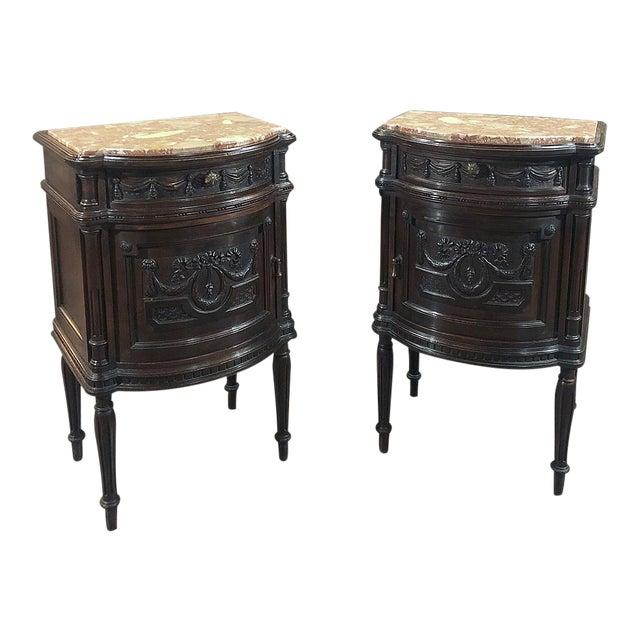 Pair 19th Century Italian Walnut Louis XVI Marble Top Nightstands For Sale