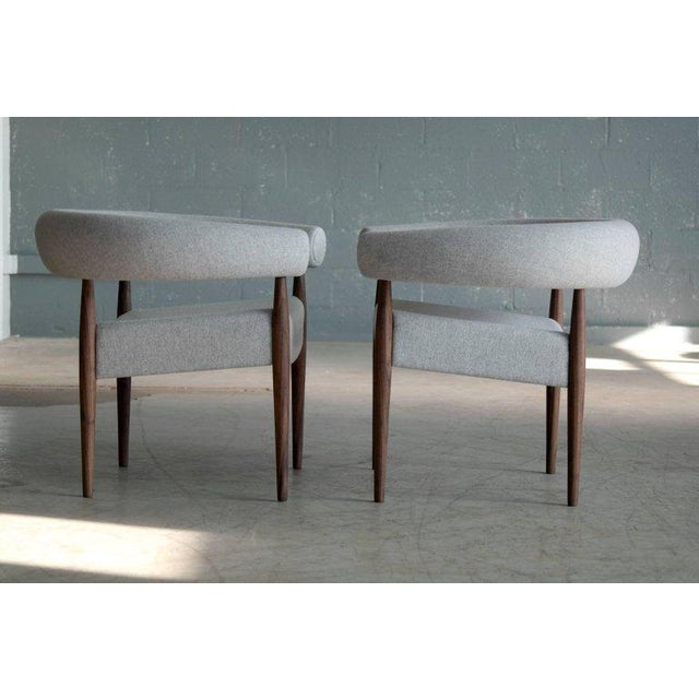 2000 - 2009 Pair of Nanna Ditzel Ring Chairs in Walnut and Wool for Getama, Denmark For Sale - Image 5 of 9