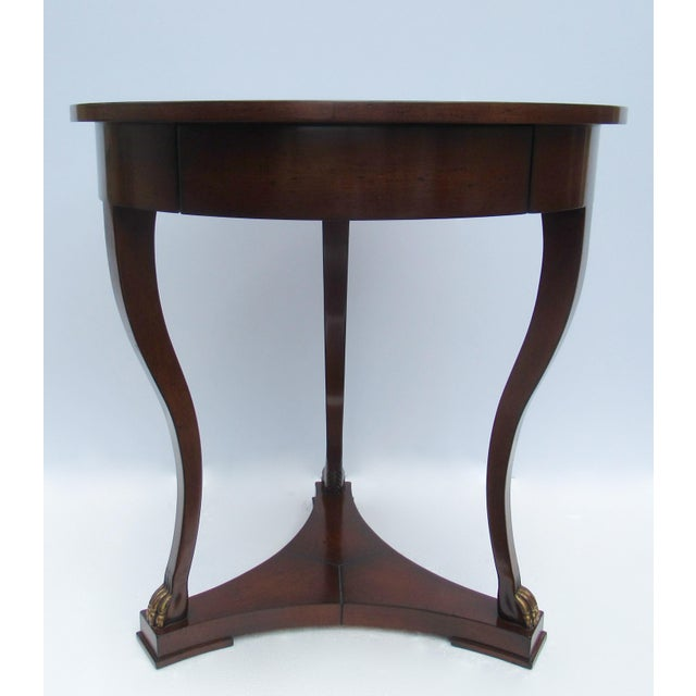"C.1998 Nancy Corzine -Round English Walnut ""DeSilva"" Side Table, With Gilt Paw Feet & Single Drawer For Sale - Image 13 of 13"