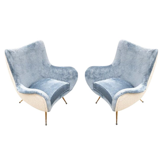 Pair of Armchairs Attributed to Marco Zanuso For Sale