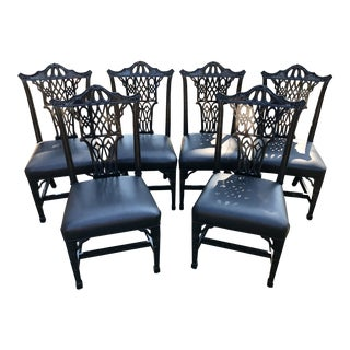1980s Vintage Chinese Chippendale Pagoda Chairs- Set of 6 For Sale