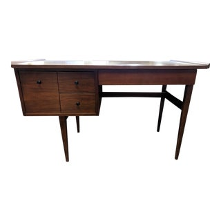 Mid Century Refinished Walnut Desk by American of Martinsville For Sale