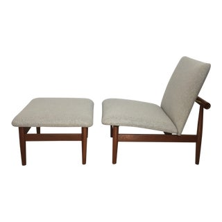 1950s Vintage Finn Juhl Japan Series Lounge Chair and Ottoman For Sale