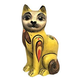1960s Folk Art Mexican Paper Mache Cat For Sale