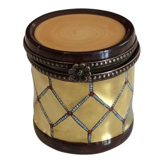 1970s French Limoges Drum Trinket Box For Sale