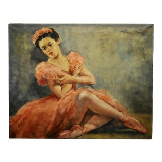 Pal Fried - Frida Kahlo in Pink Ballerina - Oil Painting - C.1950s