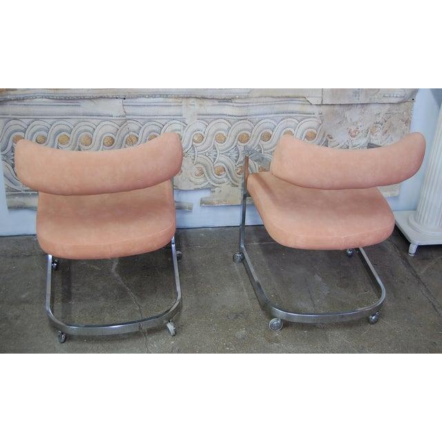 Peach Blush Dia Chrome Modernist Chairs - Pair - Image 4 of 11