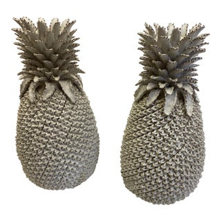 Stylized Cream Glazed Terracotta Pineapple Urns - a Pair For Sale