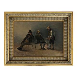 19th-Century Eduard Ritter Oil Painting on Wood Panel Interior Genre Scene For Sale