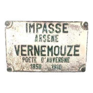 French Impasse Arsene Vernemouze Street Sign For Sale