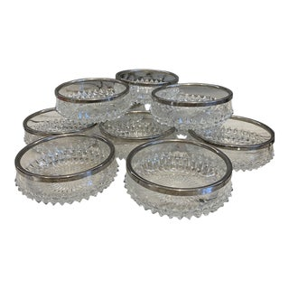 English Silver & Glass Dessert Bowlss/10 For Sale