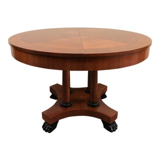 1960s Neoclassical Baker Furniture Round Mahogany Dining Table