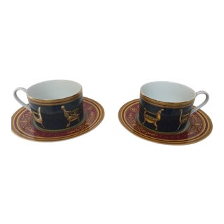 Gucci Porcelain Tea Cups and Saucers - Set of 2 For Sale
