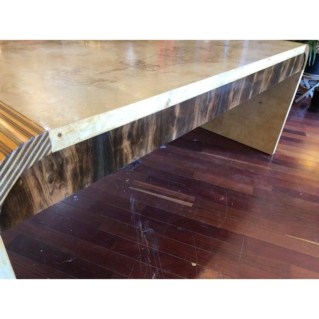 Burlwood Vintage 1970's Henredon Olive Burl Waterfall Desk/Table For Sale - Image 7 of 13