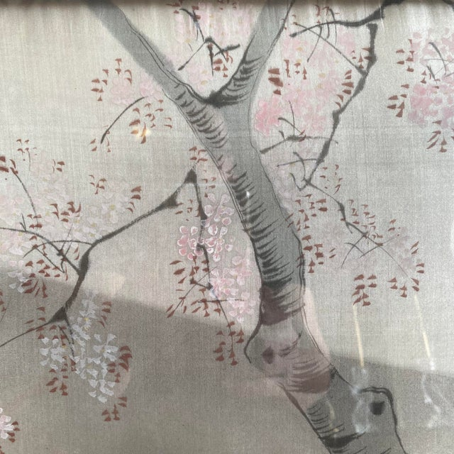 Silver Traditional Japanese Silk & Brocade Art, Framed For Sale - Image 8 of 13