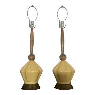 Mid-Century Teak & Yellow Porcelain Lamps - A Pair For Sale