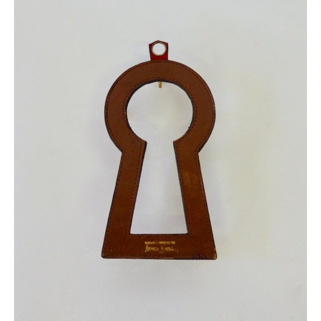 Mid-Century Modern Neiman Marcus Jacques Adnet Style Red Leather Keyhole Shaped Key Rack For Sale - Image 3 of 5