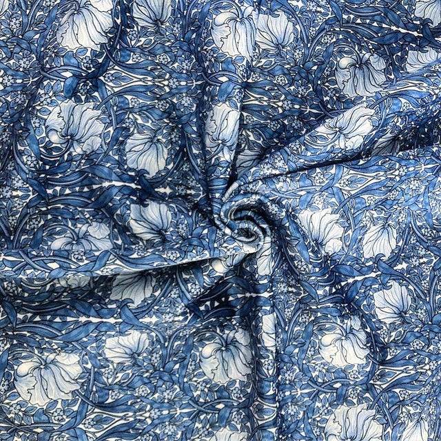 Art Nouveau Pimpernel William Morris Blue Upholstery Fabric For Sale - Image 3 of 3
