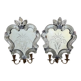 Venetian Murano Mirrored Sconce Pair For Sale