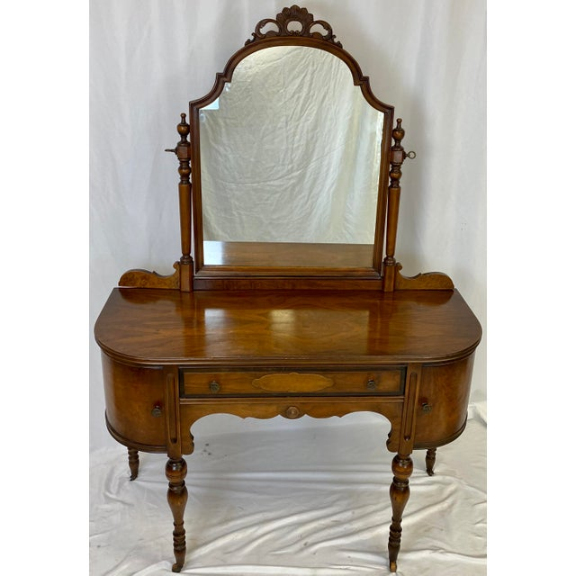 Antique Walnut English Art Deco Vanity With Mirror For Sale - Image 4 of 13