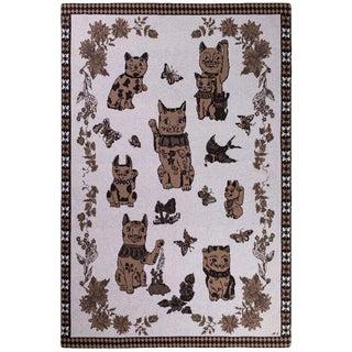 Les Chats Du Bonheur Chataigne Cashmere Blanket, 51' X 71' For Sale