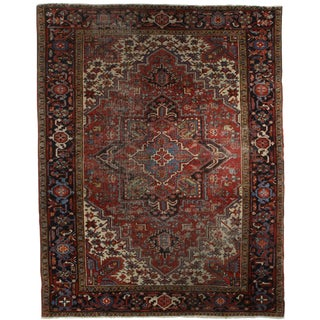 Vintage Mid-Century Hand-Knotted Wool Persian Tabriz Rug - 7′2″ × 9′ For Sale