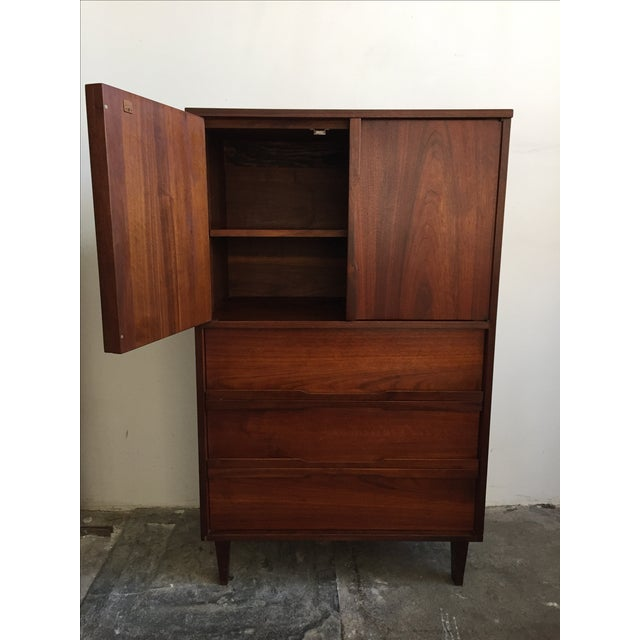 Mid Century Walnut Wood Tallboy Dresser - Image 7 of 11