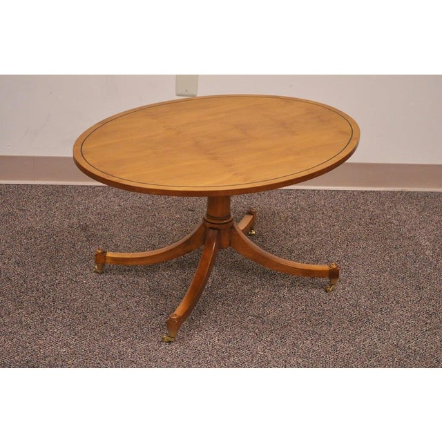 Maple Wood Coffee Table.Vintage Duncan Phyfe Baker Furniture Oval Maple Accent Coffee Table Brass Caster