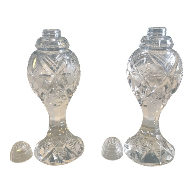 Crystal Hollywood Regency Salt and Pepper Shakers - a Pair For Sale