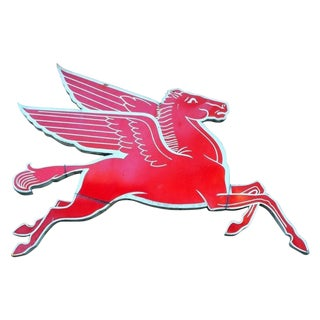 Mobil Flying Horse Pegasus Metal Art Work Sign Gas