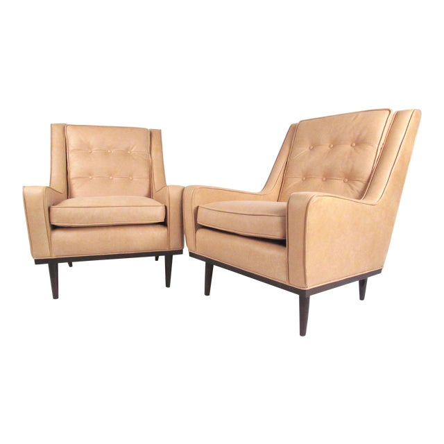 Pair Modern Leather Lounge Chairs For Sale