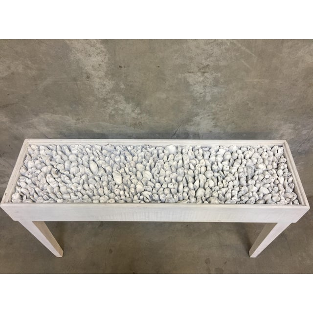 Contemporary Distressed White Driftwood Console Table For Sale - Image 3 of 4