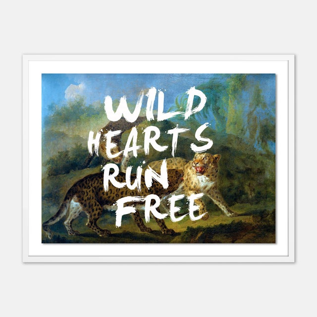 Contemporary Wild Hearts Run Free by Lara Fowler in White Framed Paper, Medium Art Print For Sale - Image 3 of 3