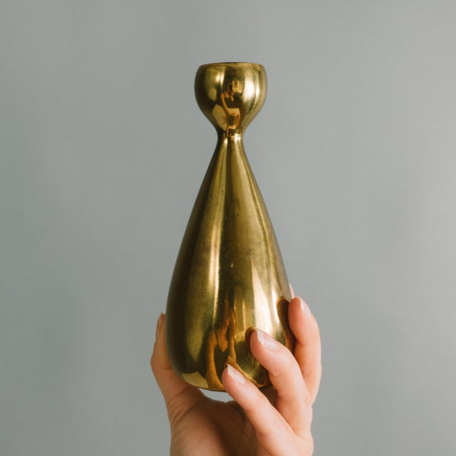 Mid-Century Modern 1950s Ben Seibel Brass Candlestick Holders - a Pair For Sale - Image 3 of 8