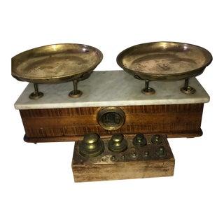 Antique Oak & Marble Top Apothecary Balance Scale
